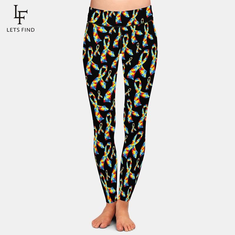 LETSFIND New Arrival Beautiful Ribbon Digital Printing Women High Waist Leggings Plus Size Fitness Stretch Women Leggings