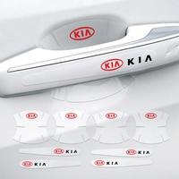 4/8 Uds protección de manija de coche antiarañazos pegatinas para KIA Rio Sorento alma Picanto Optima Ceed Cadenza K1 Cerato QLC Quoris