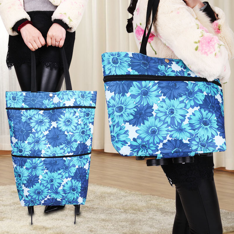 Grocery Shopping Cart Hand Bag Telescopic Dual-use Wheel Folding Tow Bag Portable Mobile Phone To Buy Food Bag Small Cart