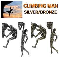 Bronze/Silver Retro Rock Climbing Sportsman Figures Resin Sculpture Bar Restaurant Store Pendant Living Room Wall Decoration