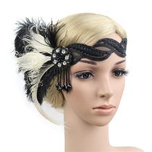 1920s Headpiece Feather Flapper Great Gatsby Headdress VINTAGE Unisex ฮาโลวีน PARTY Decor อุปกรณ์เสริมผม(China)