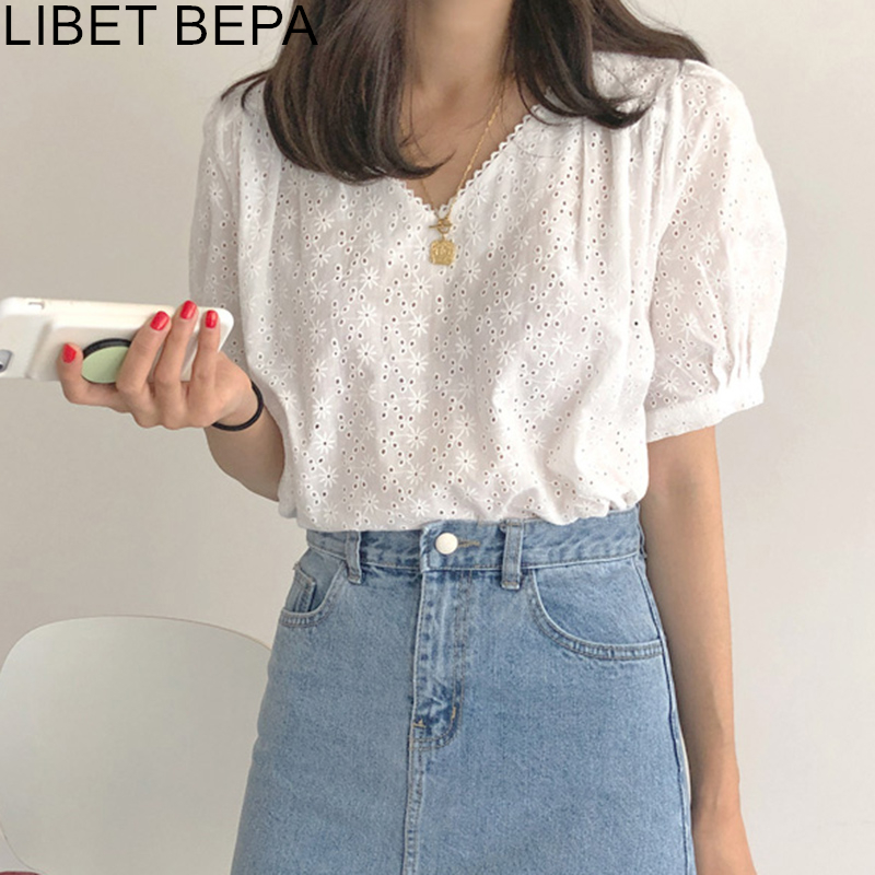 New 2020 Summer Women's Blouses Casual Fashionable Lantern Sleeve Shirt Hollow Out  Lace Up Wild Embroidery White Tops BL2088