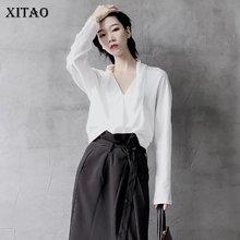 XITAO osobowość pasuje do wszystkich biała bluzka kobiety moda koreański Sexy V Neck pełna rękaw luźna obcisła koszulka Top jesień nowy GCC1138 tanie tanio COTTON Poliester REGULAR NONE Suknem Stałe V-neck Pani urząd