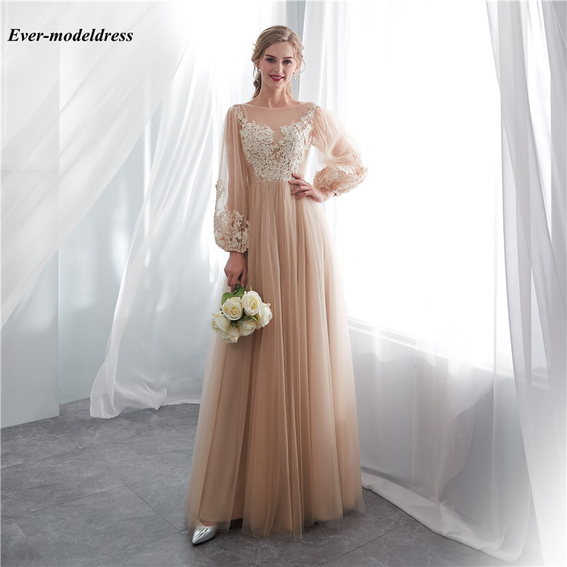 Modest 2019 Wedding Dresses Long Sleeves Sheer Scoop Lace Appliques Illusion Garden Country Bridal Gowns Floor Length Vestidos