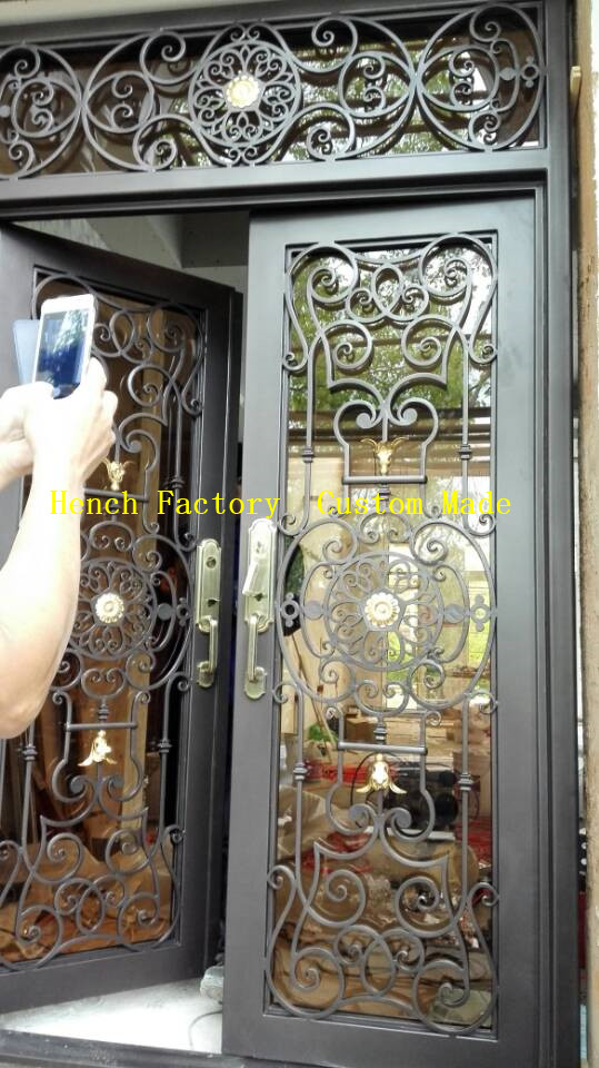 Shanghai Hench Brand China Factory 100% Custom Made Sale Australia Wrought Iron Double Front Door