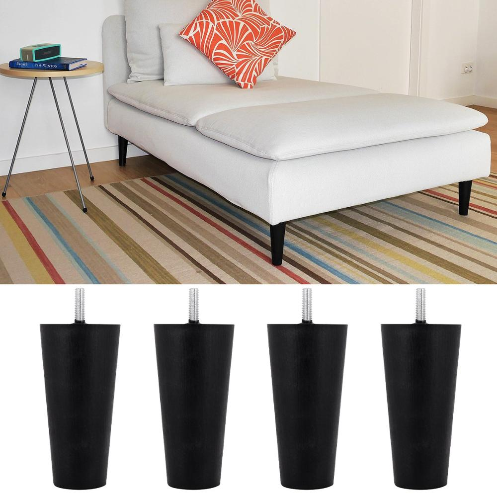 4pcs Plastic Furniture Legs Plastic Round Tapered Table Cabinets Feet Sofa Bed TV Cabinet Legs Black Furniture Feet Multi-size