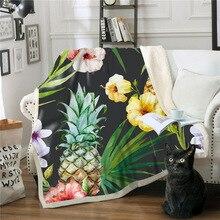 Tropical Plant Series Throw Blanket Pineapple 3D Printed Plush For Sofa Bed Velvet Plush Sherpa Fleece Blanket Bedspread Manta