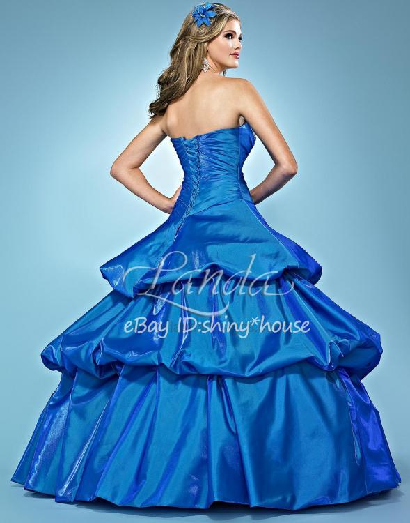 free shipping 2016 new hot fashion vestidos de noiva long casamento taffeta blue crystal elegant ball gown lace up prom Dresses