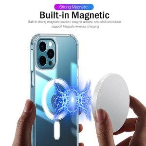 Image 2 - יוקרה מגנטי מקרה עבור iPhone 11 12 פרו מקס מיני XS XR X 10 נייד טלפון כיסוי ברור פגז TPU רך סיליקון עמיד הלם פגוש