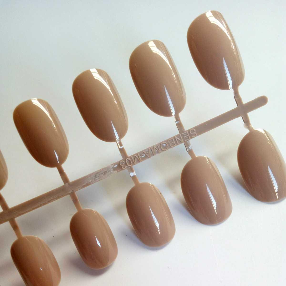 24 sztuk cukierki brązowe sztuczne paznokcie owalne fałszywe do paznokci tipsów do Manicure akrylowe Lady paznokcie w dłoniach Art Press na paznokcie 364Q