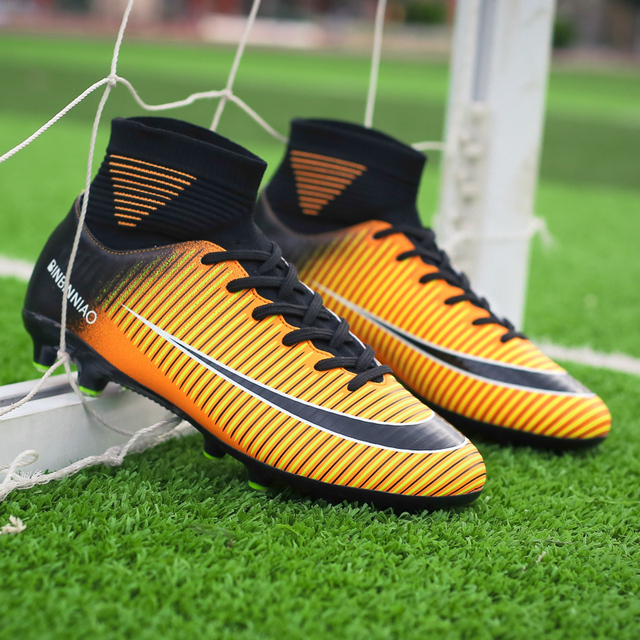 Men Football Boots Soccer Cleats Boots Long Spikes TF Spikes Ankle High Top Sneakers Soft Indoor Turf Futsal Child soccer Shoes 2