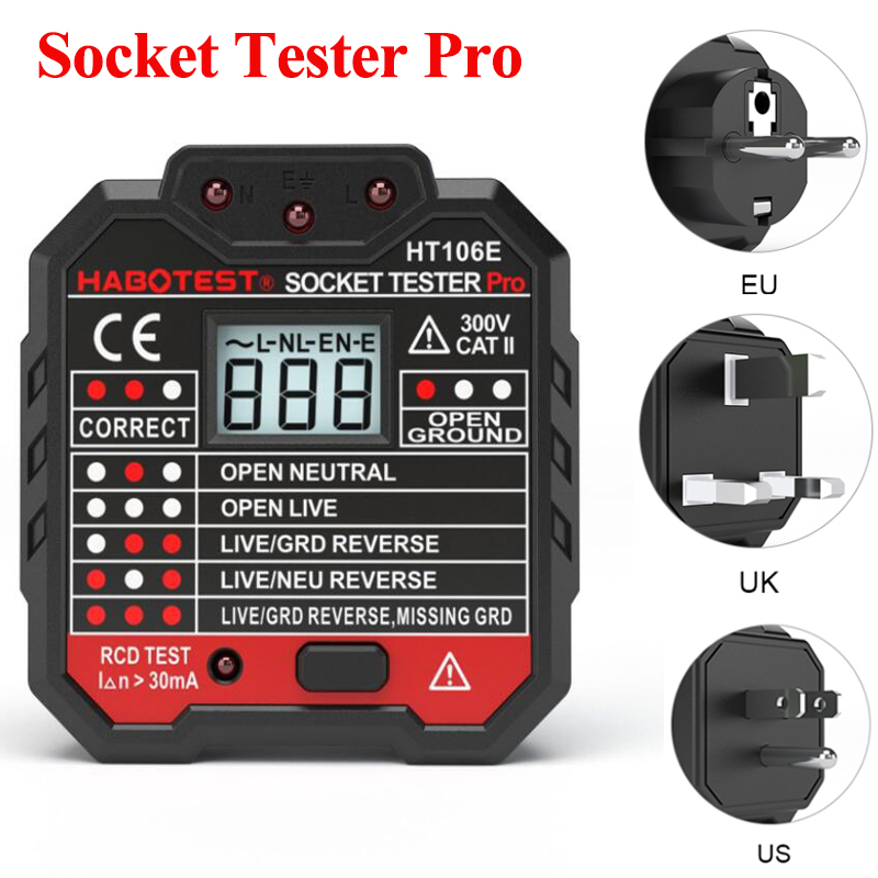 Electric Socket Tester Pro Outlet Tester EU / US / UK Plug Wire Circuit Polarity Wall Plug Breaker Leakage Test Socket Tester|Energy Meters| |  - title=