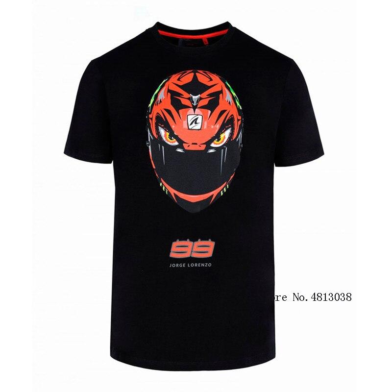 Moto gp racing jorge lorenzo 99 camiseta capacete estilo moda sprots camisa preta camisa de moto cruz moto rcycle ao ar livre t