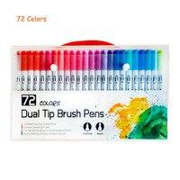 72 색상 듀얼 팁 브러쉬 마커 펜 파스텔 수채화 물감 펜 파인 라이너 아트 용품 그리기 색칠하기 책 편지지
