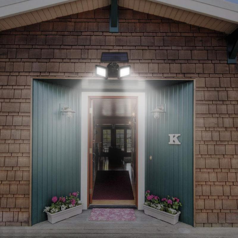Waterproof Dual Head 48 LED Solar Outdoor Wall Light Radar Sensor Spotlight Outdoor LED Light