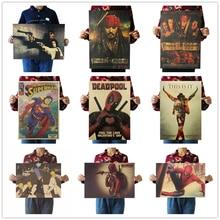 цена на Deadpool Movie  Famous view kraft paper Cafe bar pub poster Retro Poster decorative painting