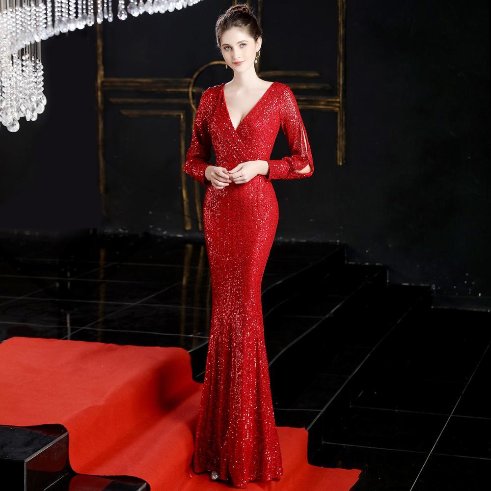 Beauty-Emily Sexy col en V paillettes robes de soirée à manches longues longueur de plancher sirène formelle robe de soirée robes de bal Vestido de noche - 4