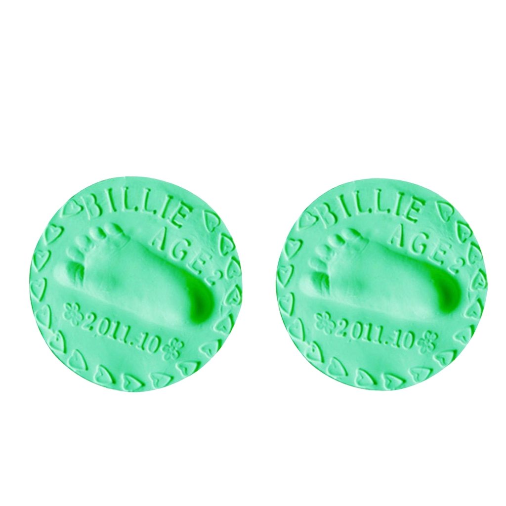 2PCS Baby Hand Print Foot Print Keepsake Kit Clay Casting Kit For Baby Shower Gifts, For Boys & Girls, Green