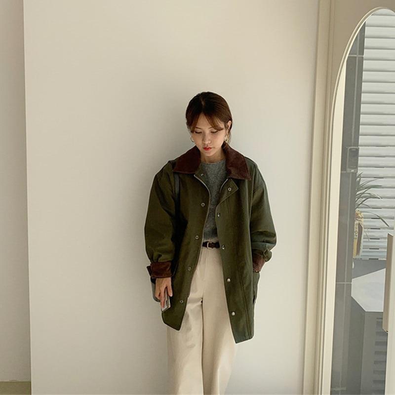 Estilo coreano feminino oversized outono algodão parka