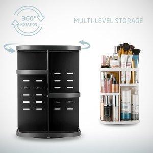 Image 4 - 360 degree Rotating Makeup Organizer Brush Holder Jewelry Organizer Case Jewelry Makeup Cosmetic Storage Box Shelf