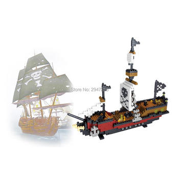 ¡Oferta! Juguetes de regalo de bloques de mini bloques de Micro diamantes con diseño de perlas negras de Barco Pirata japonés clásico y Lepining