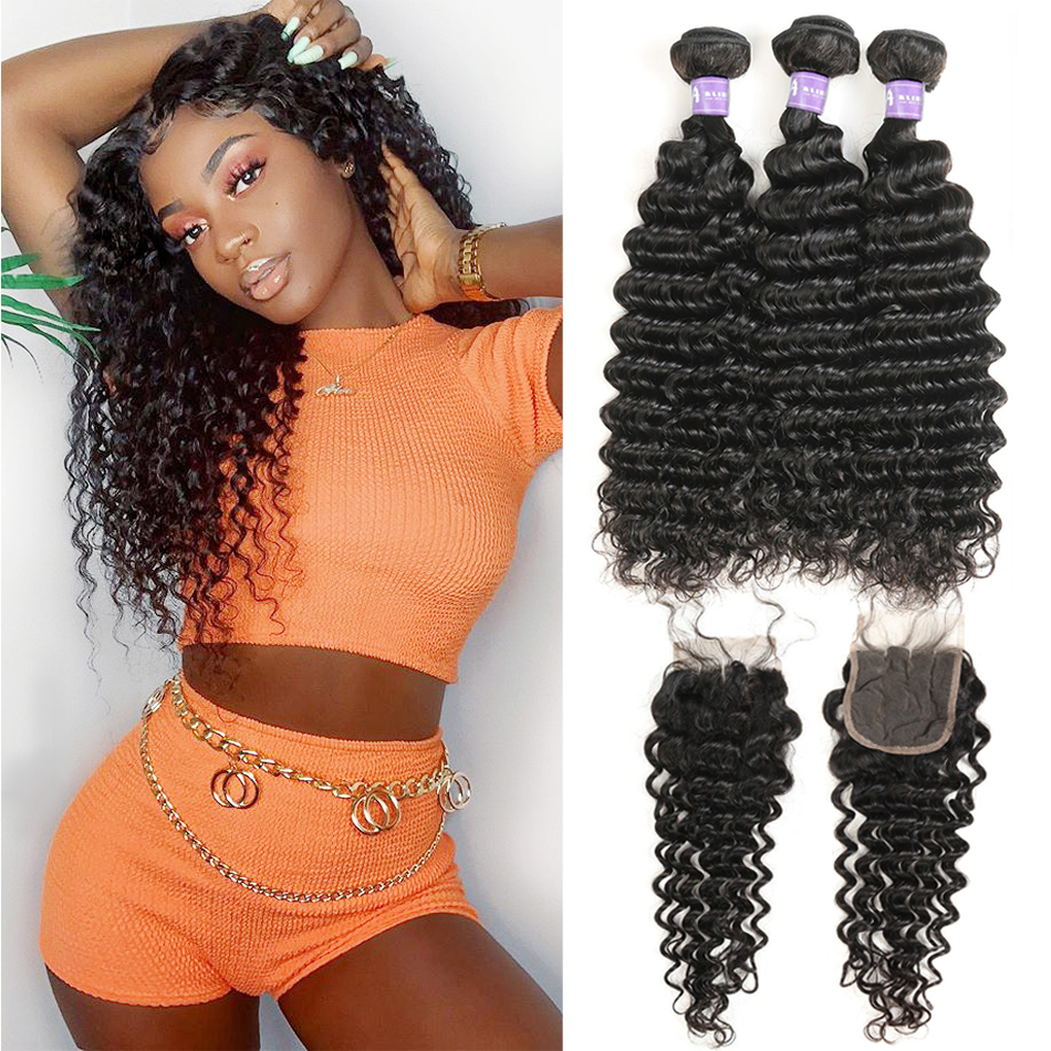 Alimice 30 Inch Deep Wave Bundles With Closure Malaysian Human Hair 3 Bundles With Lace Closure Remy Hair Closure With Bundles