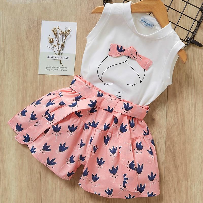 Shorts T-Shirt Baby-Girls Summer 7-Years Print And Sleeveless for Kids Children Clothing