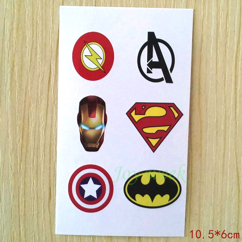 Waterproof Temporary Tattoo Sticker Super Men Captain American Cartoon Tatto Stickers Flash Tatoo Fake Tattoos For Kids Child 4