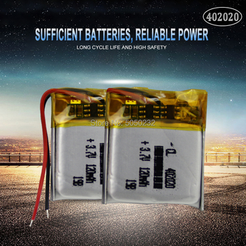 2pc 3.7v 120mAh 402020 Lithium Polymer Rechargeable Battery For toys GPS MP3 MP4 PAD DVD DIY bluetooth headphone speaker phone image
