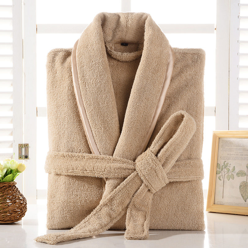100% Cotton Toweling Terry Robe Lovers Hotel Robe Solid Men And Women Robe Bathrobe Soft Sleeprobe Male&Female Casual Homewear
