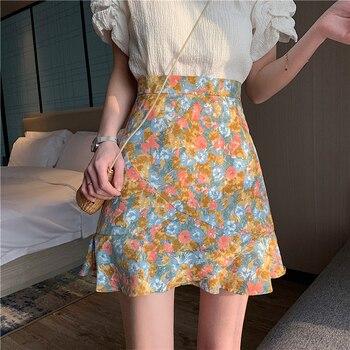 цена на Mini skirt elegant boho skirts womens high waist skirt floral satin skirt short kawaii skirts cute skirt womens