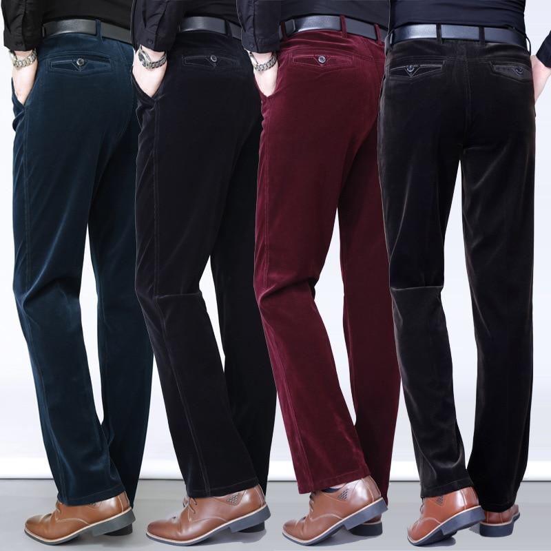 2019 Winter Autumn Corduroy Pants Men's Trousers Fashion Casual Pants Elastic Force High Waist Straight Pants Pantalones Hombre