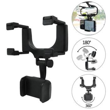 Car Rearview Mirror Mount Holder Stand Cradle For Cell Phone GPS Universal 360 Degree Rotation DVR Holders For 3-5.5 Inch Phones image