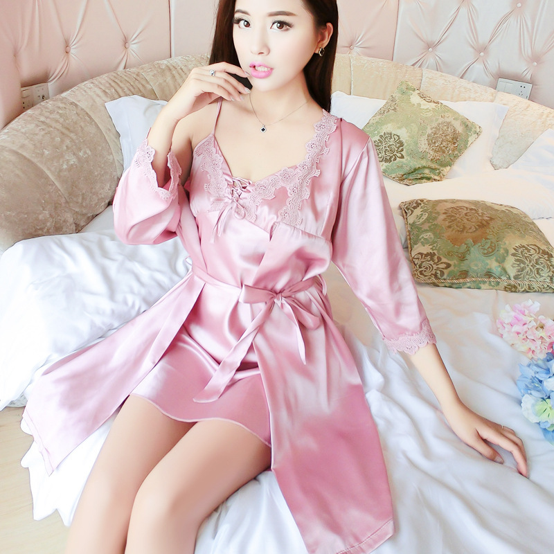 2018 Spring And Summer New Products Women's Sexy Silk Nightgown Piece Romantic Temptation Nightgown Set