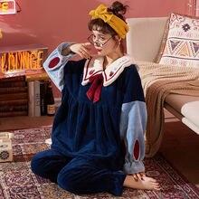 Милая Пижама женская одежда для сна утепленная теплая пижама