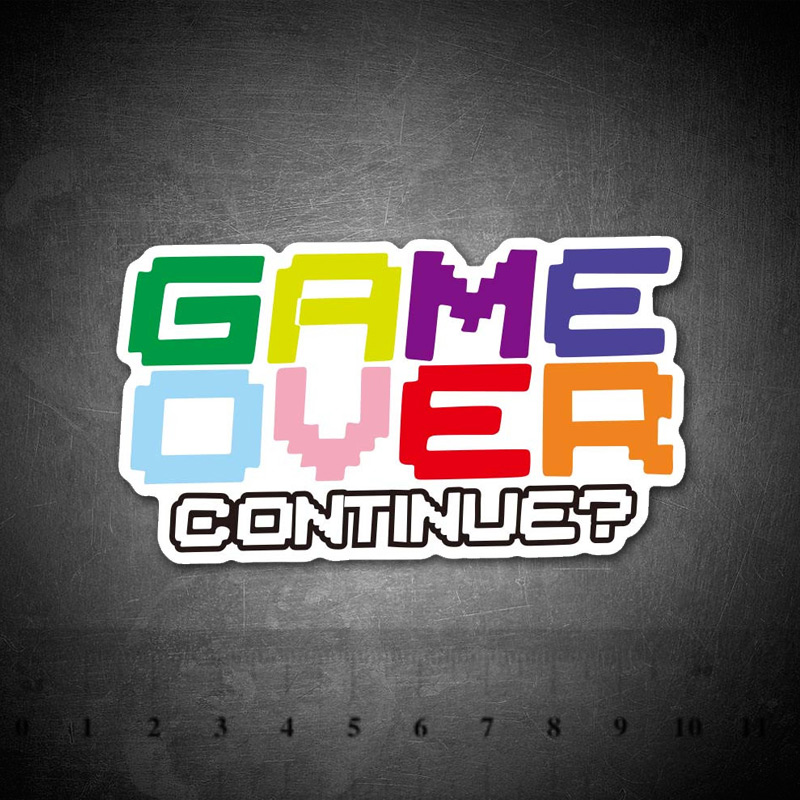 Game Over Colorful Text Sticker For Luggage Skateboard Phone Laptop Bicycle Wall Guitar Diary PS4 Stickers
