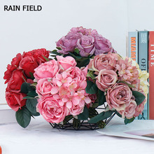 7 Roses Bunch Artificial Silk Flowers Small Bouquet Beautiful Rose Peony Flores Home Party Spring Wedding Decoration Fake Flower