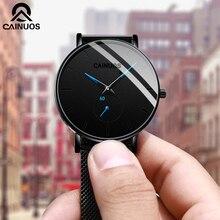 Cainuos simples relógio masculino ultra fino moda relógios de quartzo relógio de aço inoxidável malha cinto de pulso relogio masculinoRelógios de quartzo