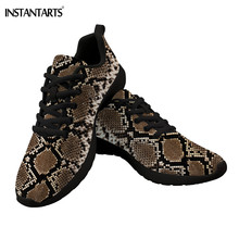 Купить с кэшбэком INSTANTARTS Snake Skin Woman Flat Sneakers Python Skin Print Breathable Air Mesh Lacing Casual Shoes Comfortable Running Shoes