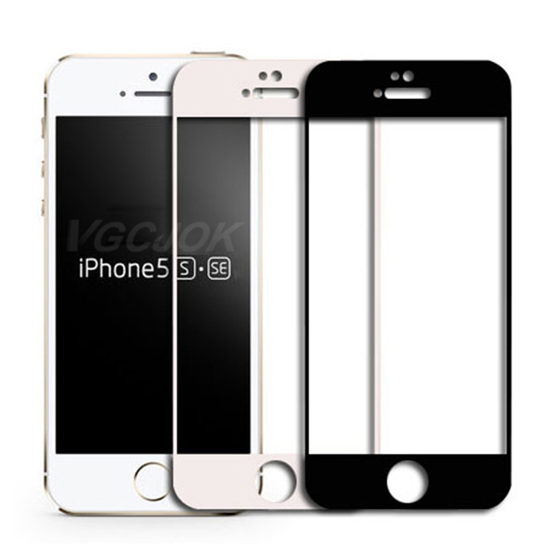 9D Full Cover Protective Glass on For iPhone 5S 5 5C SE Tempered Screen Protector Safety Glass For iPhone 5S SE Protection Film(China)