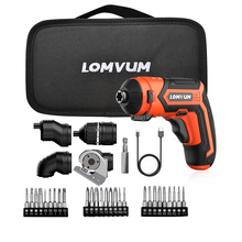 LOMVUM Mini USB Rechargeable Electric Screwdriver Set 4V Cordless 4 Heads Changeable Multifunctional