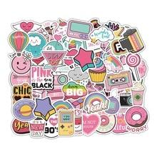Pegatinas rosas VSCO para chica, 60 uds., pegatinas para scrapbook, Skateboard, Maleta, portátil, lápiz labial impermeable, helado
