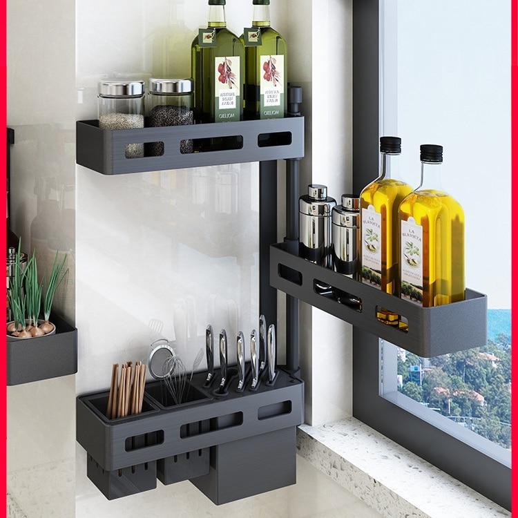 US $42.31 25% OFF|Kabe free punch free corner kitchen rack storage rack  space aluminum wall hanging rotating seasoning shelf knife rack on  AliExpress