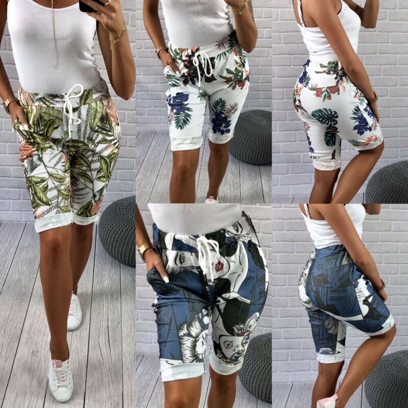 New Women's Skinny  Bicycle Shorts Cotton Wide Belt High Waist Elastic Biker