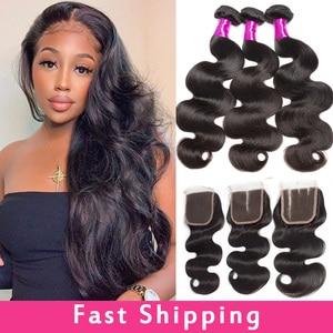 "Image 1 - Alibele Body Wave Bundles With Closure Brazilian Hair Weave Bundle With Closure 30 "" Wavy Human Hair 3 Bundles With Lace Closure"