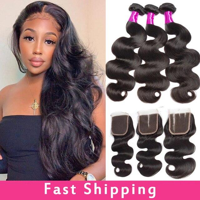 "Alibele Body Wave Bundles With Closure Brazilian Hair Weave Bundle With Closure 30 "" Wavy Human Hair 3 Bundles With Lace Closure"