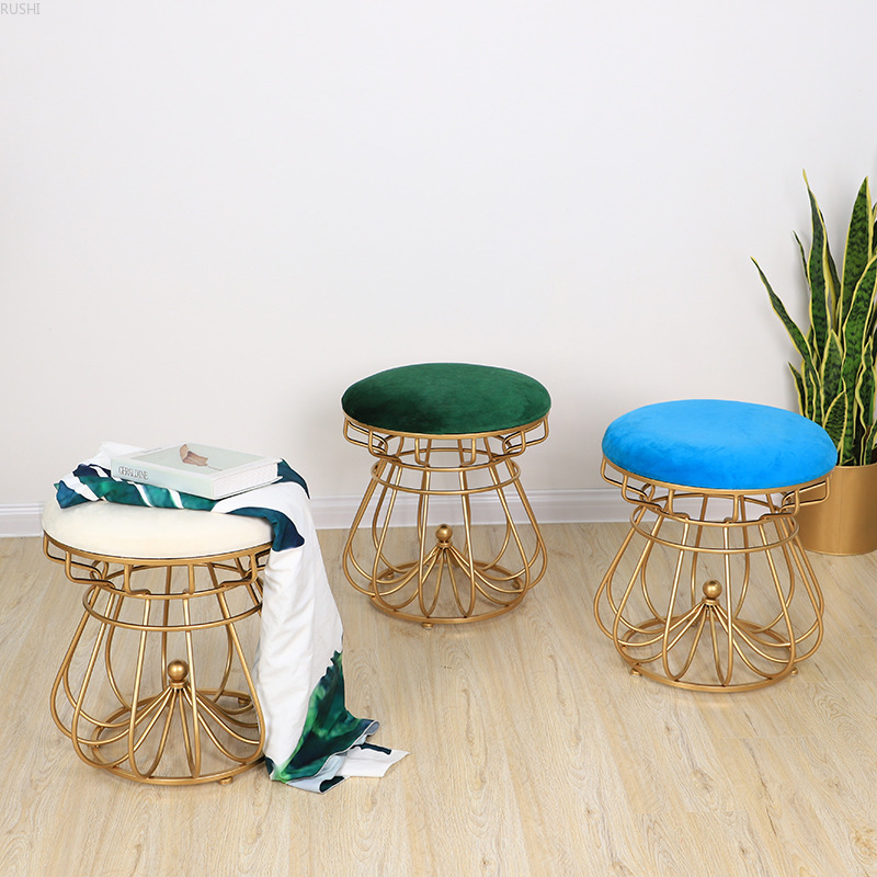 Round Stool Waiting Chair Nordic Simple Bedroom Dressing Chair Metal Golden Nail Shop Cosmetic Chair Creative Crown-shaped