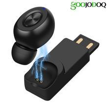 GOOJIDOQ 5.0 kulaklık USB şarj Mini kablosuz Bluetooth kulaklık araç spor kablosuz kulaklık iPhone xiaomi için Mic ile