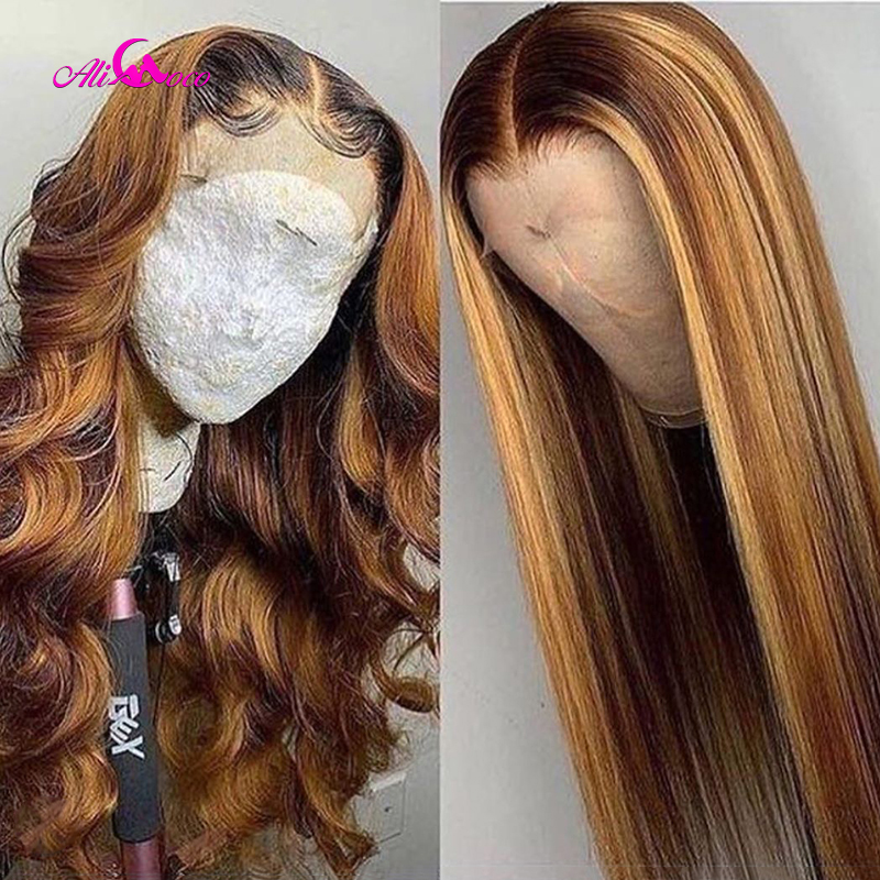 Ali Coco #4/27 Highlight Colored Human Hair Wigs Pre Plucked Lace Front Human Hair Wigs Ombre Remy Body Wave Frontal Wig