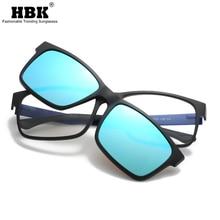 HBK Clip On Sunglasses Men Polarized Magnet Magnetic Clips Prescription TR90 Optical Frame Spectacle Women Reading